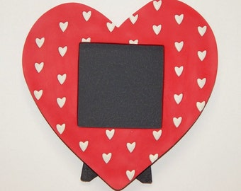 "Re-purposed 7""x7"" Photo Frame with 4""x4"" Chalkboard Surface Plastic Heart Love"
