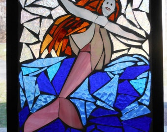 Stained glass mosaic mermaid