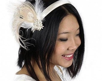 Ivory Peacock Feather Headband Embellishment - HBDE1922--IV-W