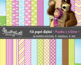 Digital Paper Masha and the Bear