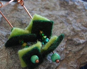Boiled wool green long earrings