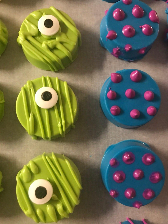 2 dozen Monsters Inc Eyes Chocolate Covered Pretzels Oreos Birthday Party Favors Dessert