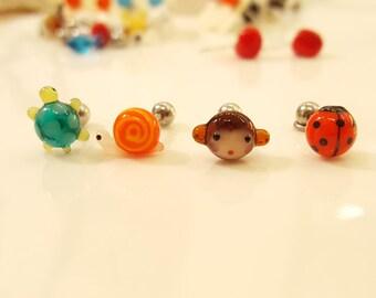 Turtle / Snail / Monkey / Ladybug Glass Piercing by urinamu(glasstree)