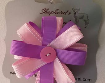 Purple pink handmade girls hairbow/hair accessories/ hair bow/ girls hairbow/ girls hair accessory/pink hair accessory/purple hair accessory