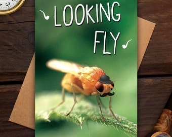 Looking Fly - Greeting card - funny, pun, humor, fashion, hipster, moustache, photography, macro, insect, bug