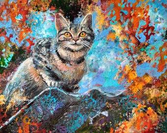 Original art Cat painting acrylic painting cat portrait animal art colorful wall art cat decor pet portrait cat art cat lover gift fine art