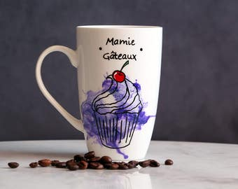 Cup cakes Granny geometric watercolors, mug geometric mamie cakes watercolor