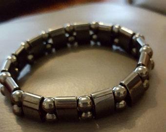 Magnetic hemitite Gemstone stretch bracelet