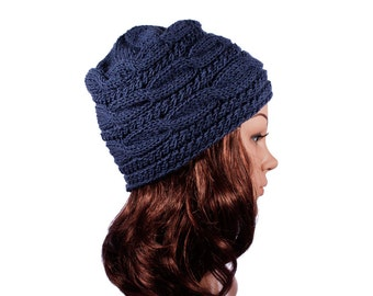 Blue hand-knit hat for women