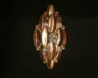 Brown tiger eye stone brooch with crystal rhinestones