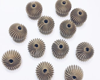 Vintage Corrugated Brass Beads