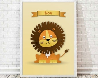 Child printable laminate Leon-lion print, nursery animal art.