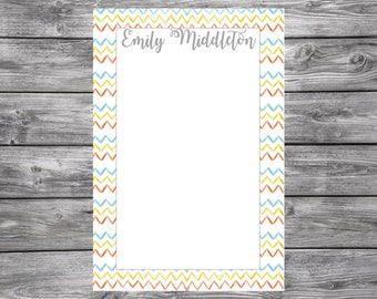 Notepad-Personalized-Chevron Trim- 4x6