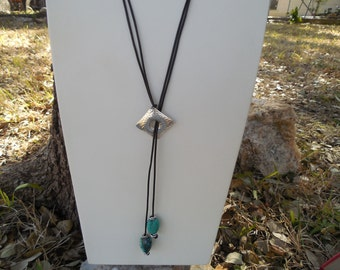 Silver and Turquoise Lariat Style Necklace