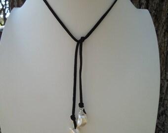 Black Suede and Baroque Pearls Necklace