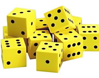 Whisper dice yellow 2 PCs. - point cube from foam - cube of whisper - soft Playdice - soft dot dice