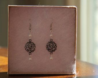 Beaded Rose Earrings