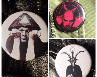 Occultism macabre set of 3 pin buttons. LaVey, Crowley & baphomet