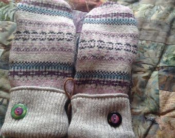 Fundraiser upcycled sweater mittens, Fair Isle pattern