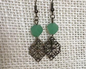 Sweet filigree drop earrings