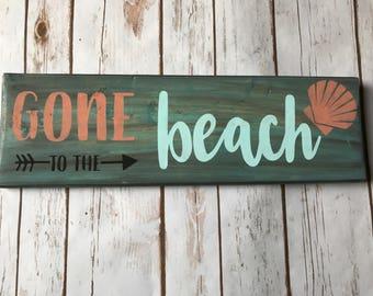 Beach sign, gone to the beach, beach house, beach decor, tiki bar decor, lake house, cottage, seashell, beach wall art, wood sign, rustic