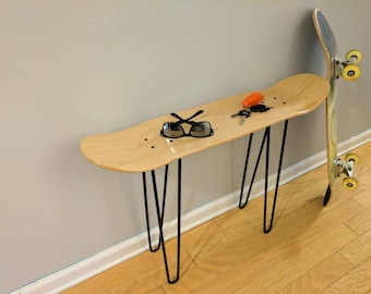 Elegant Skateboard Table With Hairpin Legs.