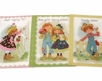 Vintage Unused Greeting Cards Set, Country Greeting Cards, Get Well Cards, Just Saying Hi, Retro Greeting Cards, Set of Unused Cards