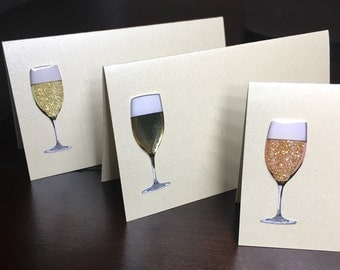 Champagne place cards, placecards, seat cards, name cards, champagne food labels, food tents, favor tags - 5 per order