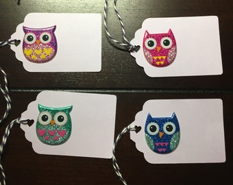 Owl tags, owl baby shower tags, favor tags, owl goodie bag tags, owl party favor tags, owls - 6 in one order