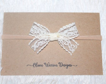 Lace bow; lace bow headband; white lace