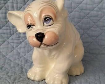 Bonzo Sitting Dog Ceramic Figurine, Czechoslovakia, c.1930