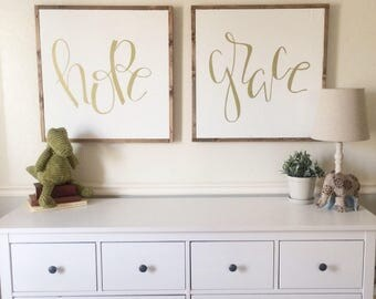 hope sign - framed sign - hand lettered sign - fixer upper - hand painted sign - farm house decor - home decor - nursery decor
