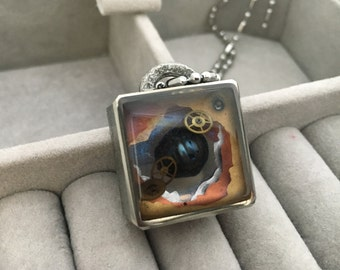 Dark Pearl Necklace Watch Part Pendant Resin