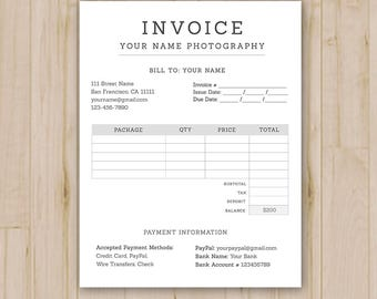 Photographer Invoice Form - Photoshop Template for Photographers - PSD *INSTANT DOWNLOAD*