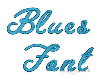 Blues Embroidery Font Designs 5 size Instant Download