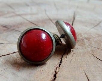 Small earrings studs Mint vintage earrings red, earring red, earring red stone, vintage earrings, gift, earrings gold