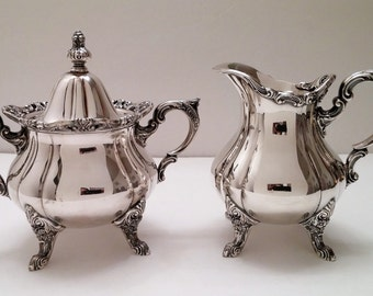 RESERVED for CHAIAH-Wallace 1200 Rosepoint Silver Plate Sugar and Creamer