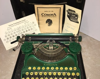 1920's Rare Green Smith Corona Typewriter with Case