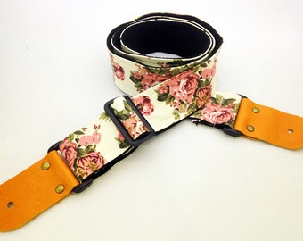 NuovoDesign cream floral fabric Guitar strap, leather parts with free end pin and tie lace