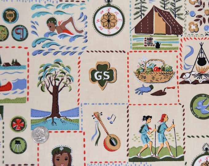 Robert Kaufman Registered GIRL SCOUT Fabric -  100% Kona Cotton - RARE