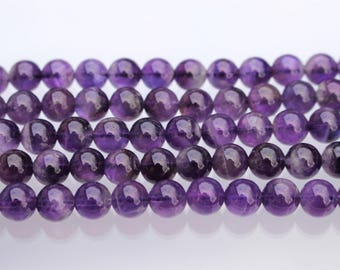 8mm Deep Amethyst Beads, Natural, Round - Full Strand or Half Strand