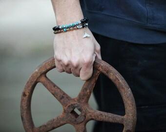 Black bracelets, mans Bracelets Set,Beaded bracelets Men jewellery, Beaded Bracelet, Mens Bracelet,  black bracelet gemstone, gift for mens