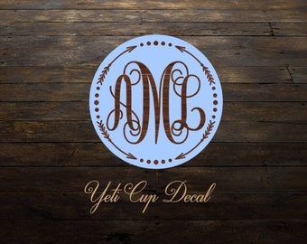 Yeti Cup Decal, Monogram Decal, Personalized Sticker,Name Decal,Arrow,Vine Monogram, RTIC Cup Sticker, Tumbler, Personalized Monogram Decal