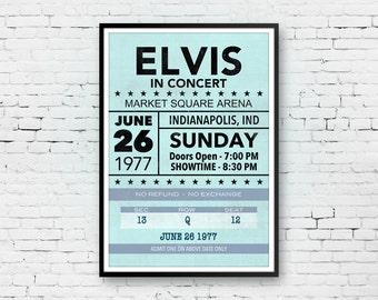 Elvis Presley Print Art, Elvis Presley Poster, Elvis Concert Ticket, Elvis Ticket Stub, Elvis Poster, Concert Poster, 13x19 Print