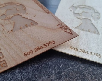 Custom engraved wooden business cards