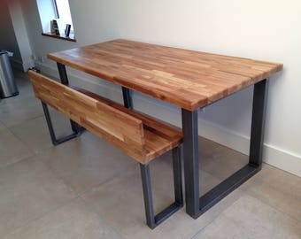 Steel and Oak contemporary dining room table / bench by STOAKED - Custom Sizes available
