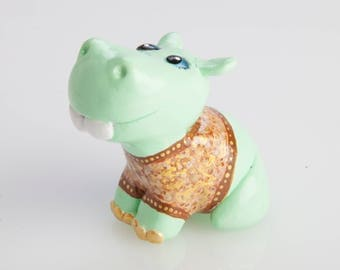 Cute Polymer Clay Mint Green Hippo Figurine Totem with Brown & Gold Jumper
