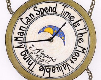 Time is the most valuable thing: Art print, Inspirational, Illustration, hand lettering