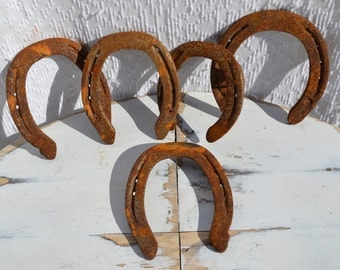 5 Used Real Horseshoes | Rusty Horseshoes | 5 Lucky Horseshoes | Real Horseshoes | Used Horse Shoes | DIY Project supplies | Good Luck Shoes
