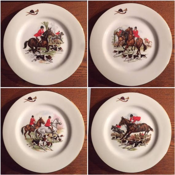 Set of 4 Vintage Hunt Scene Equestrian Plates. Horse and Rider. Porcelain. USA Made. Four Dessert Plates. Equestrian. Horses. Equine.